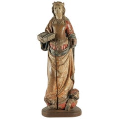 Wooden Sculpture of Saint Catherine in Walnut