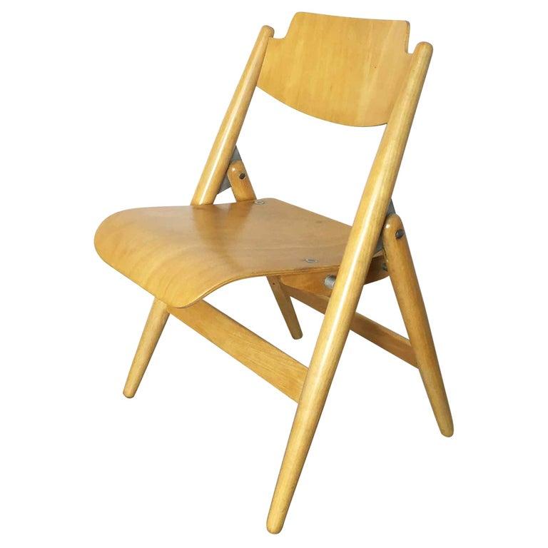 Wooden SE18 Children's Chair by Egon Eiermann for Wilde & Spieth, Germany 1950s For Sale