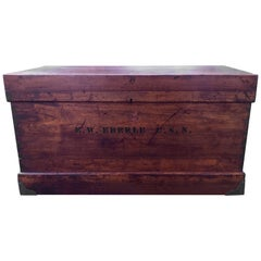 """Wooden Sea Chest with Admiral """"E.W Eberle"""" Stamped on Front and Back"""
