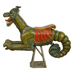 Wooden Sea Dragon Carousel Ride On Sculpture, Europe, 1950s