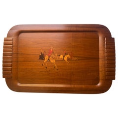 Wooden Serving Tray with Horses in the Style of Ralph Lauren, Circa 1940
