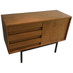 Wooden Sideboard on a Modernist Steel Base, circa 1950