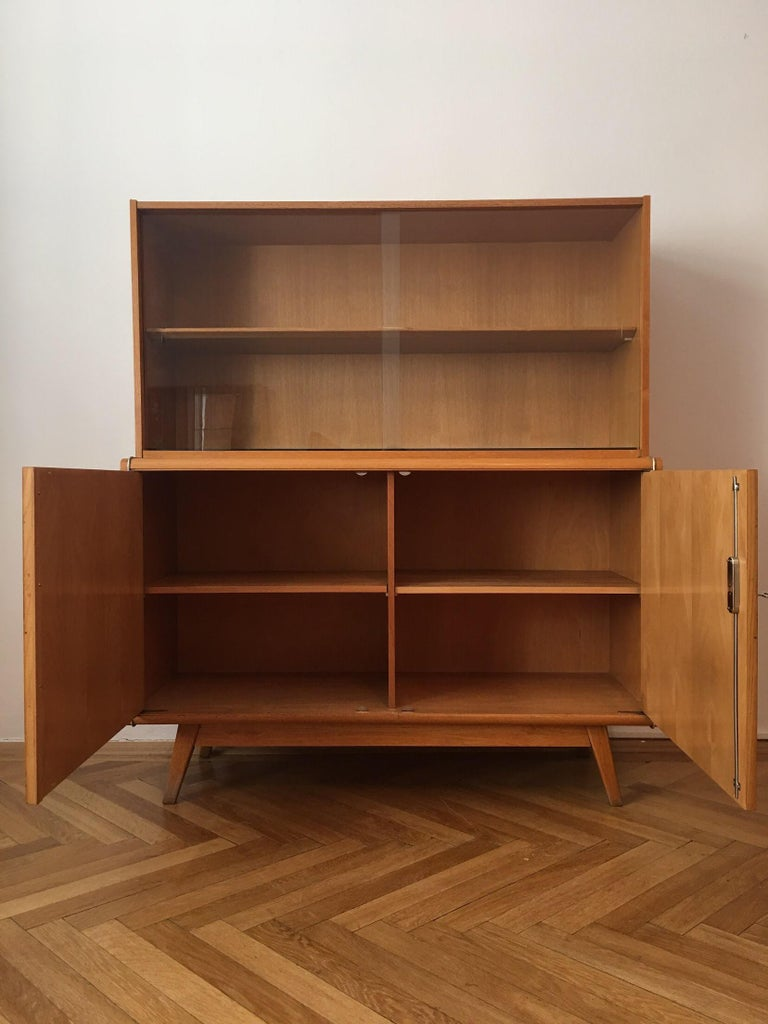 Mid-Century Modern Wooden Sideboard with Bookcase from Jitona, 1960s For Sale