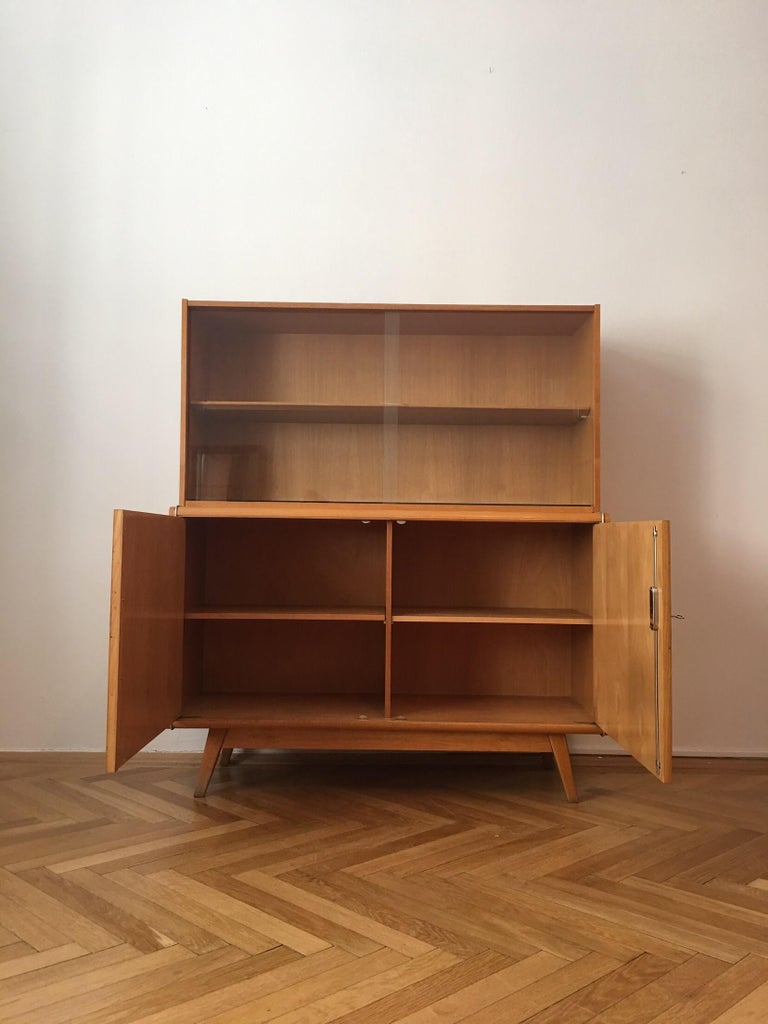 Czech Wooden Sideboard with Bookcase from Jitona, 1960s For Sale