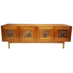 Wooden Sideboard with Handmade Leather Ornaments, 1970s Designer Piece