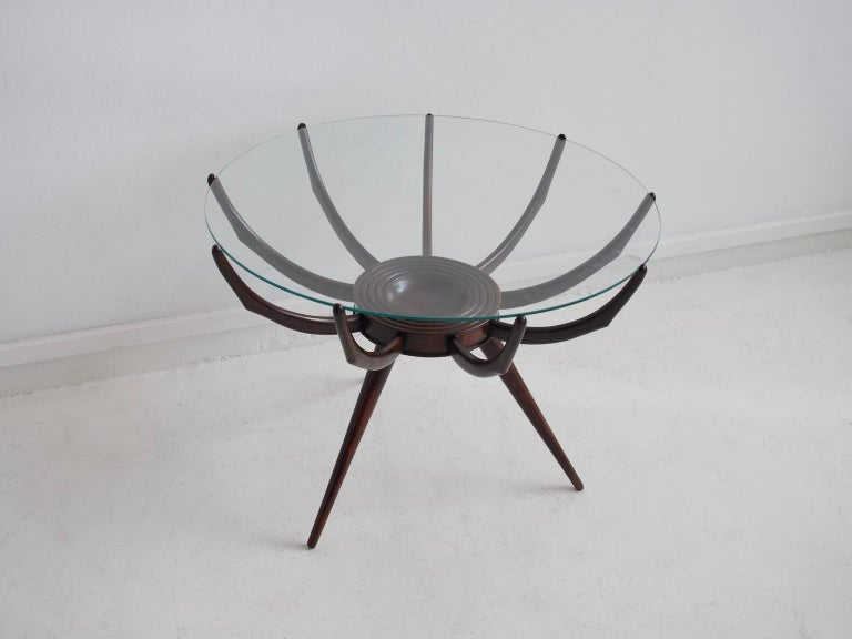 Mid-Century Modern Wooden Spider Leg Coffee Table by Carlo De Carli For Sale