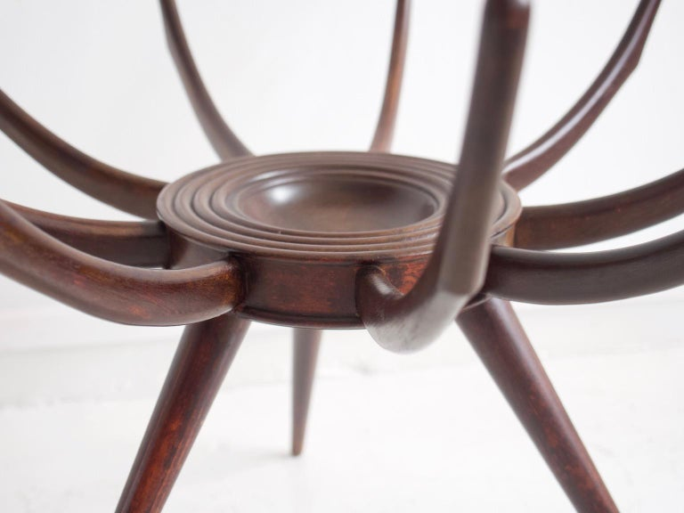 Glass Wooden Spider Leg Coffee Table by Carlo De Carli For Sale