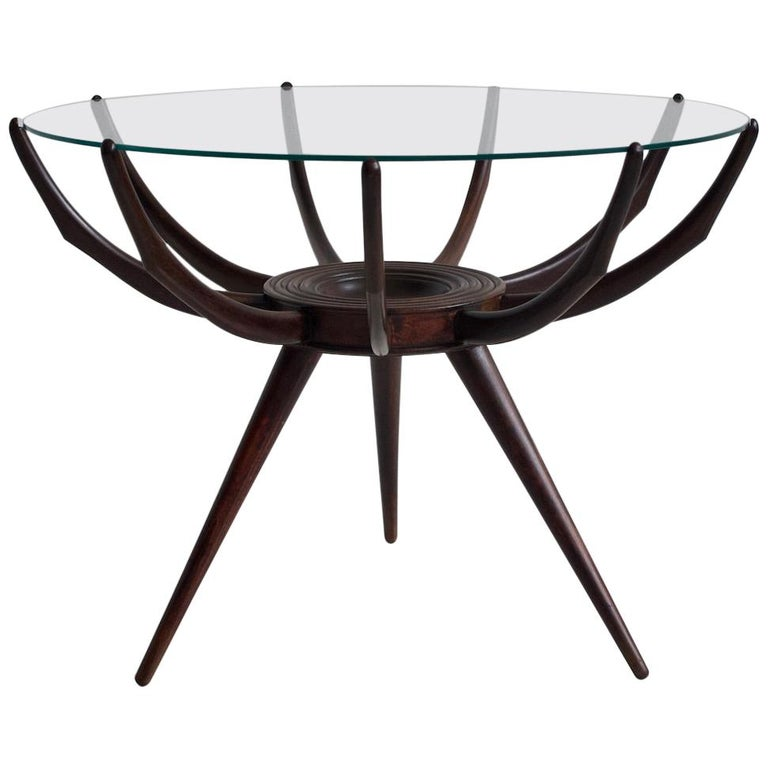 Wooden Spider Leg Coffee Table by Carlo De Carli For Sale