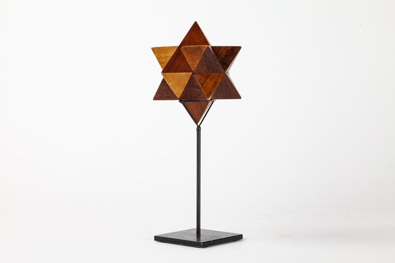Modern Wooden Star Form Puzzle on Custom Stand For Sale