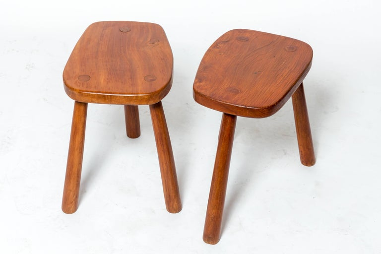 Wooden tabouret with three legs, France, 1950s Four available.