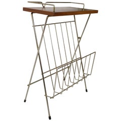 Wooden Teak and Brass Side Table with Magazine Rack Dutch Design from 1950s
