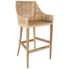Teak Wooden and Rattan Bar Stool