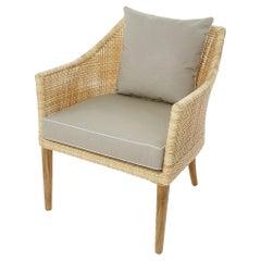 Wooden Teak and Resin Rattan Effect Outdoor Armchair
