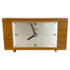 Wooden Teak Table Clock Max Bill Style Junghans Electronic, Germany, 1960s