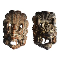 Wooden Thai Dragon Wall Hangings with Decorative Carving, a Pair