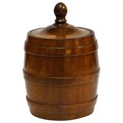 Wooden Tobacco Jar from 1920s Belgium