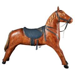 Wooden Toy Platform Horse with Tail in Real Hair, Painted Wood and Saddle