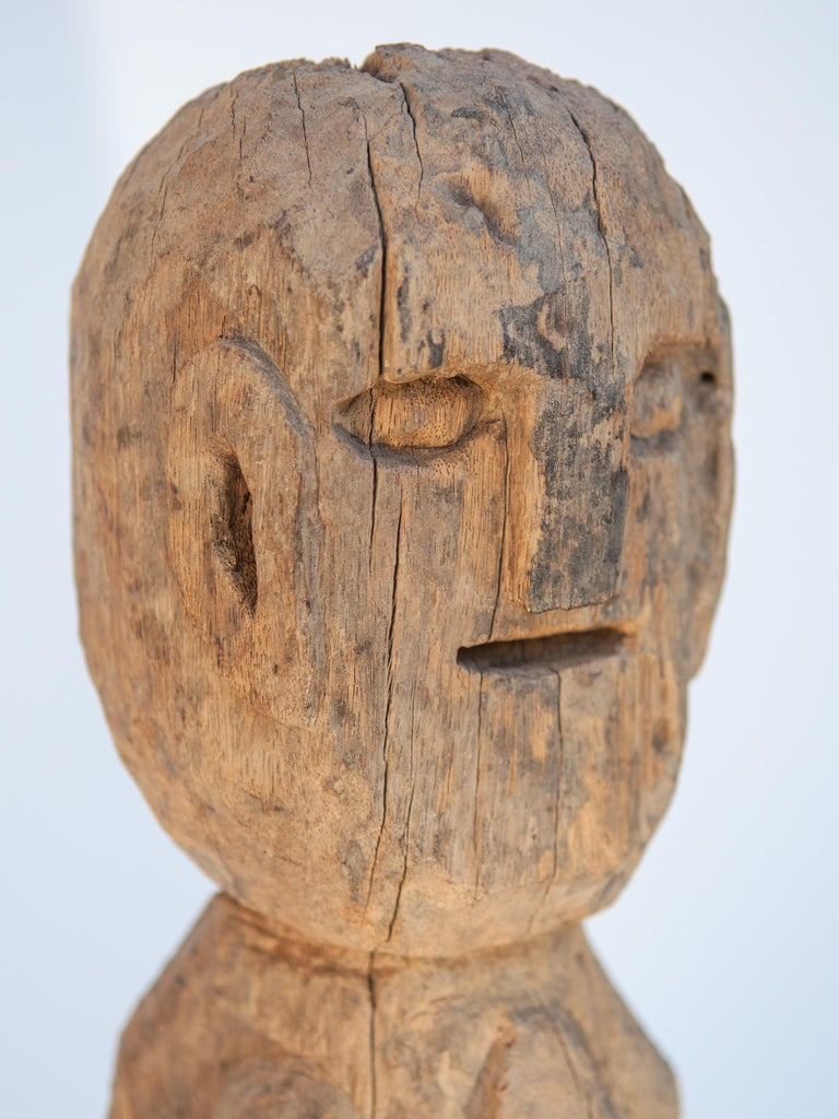Wooden Tribal Female Statue from West Nepal, Early to Mid-20th Century, Mounted For Sale 5