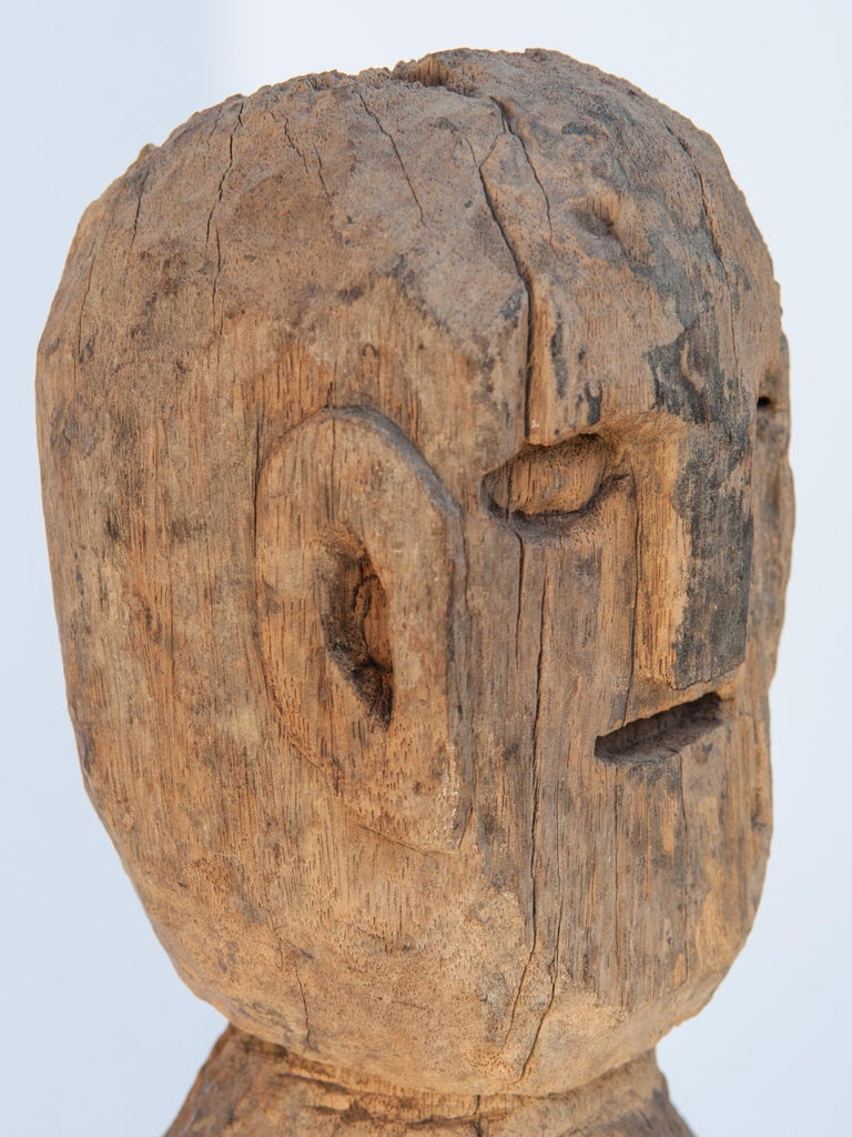 Wooden Tribal Female Statue from West Nepal, Early to Mid-20th Century, Mounted For Sale 6