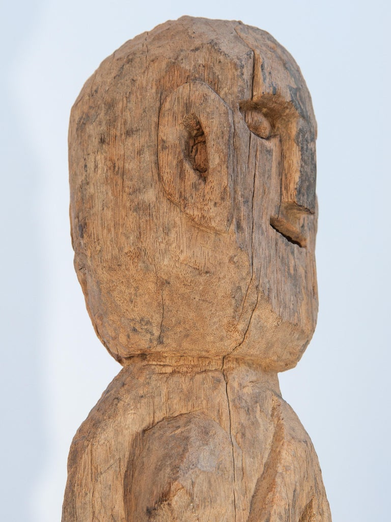 Wooden Tribal Female Statue from West Nepal, Early to Mid-20th Century, Mounted For Sale 7