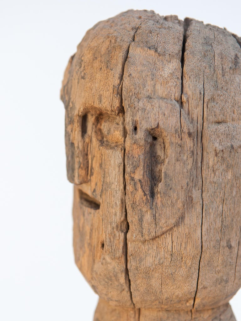 Wooden Tribal Female Statue from West Nepal, Early to Mid-20th Century, Mounted For Sale 9
