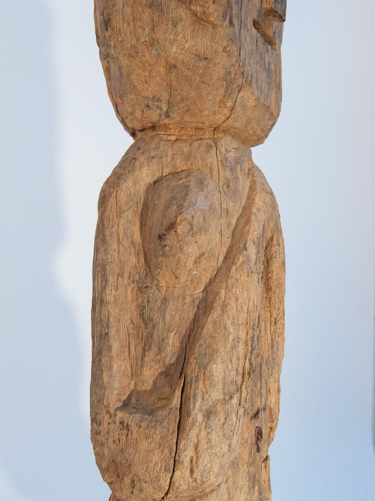 Wooden Tribal Female Statue from West Nepal, Early to Mid-20th Century, Mounted For Sale 10
