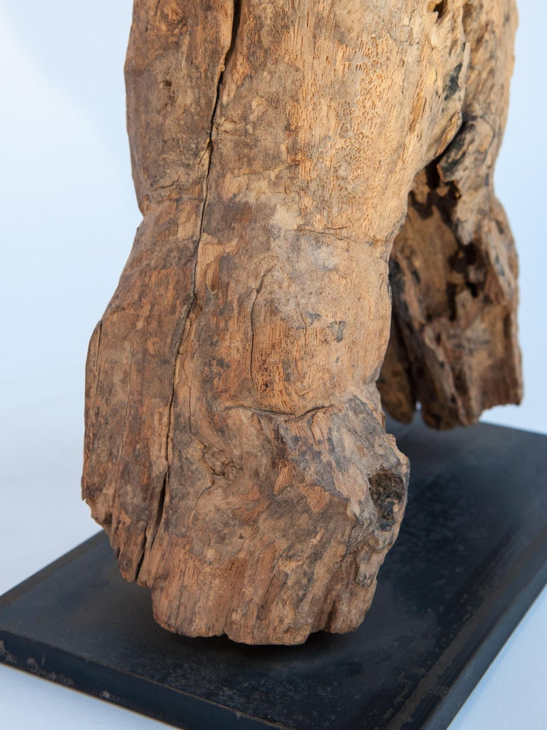 Wooden Tribal Female Statue from West Nepal, Early to Mid-20th Century, Mounted For Sale 12