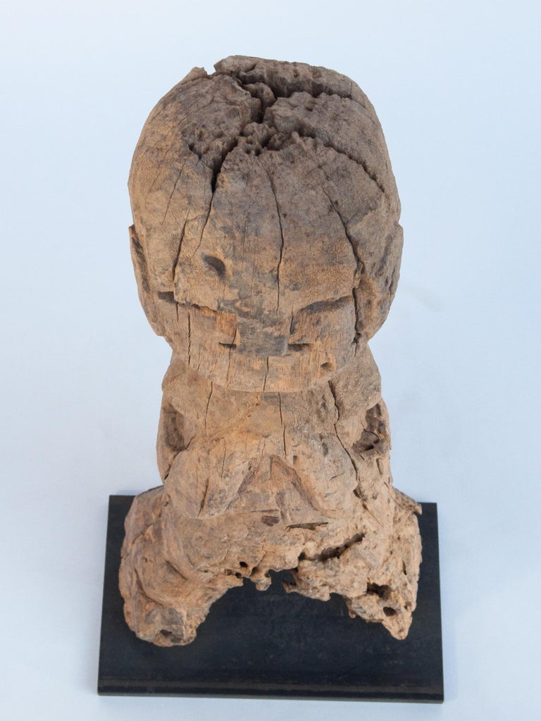 Wooden Tribal Female Statue from West Nepal, Early to Mid-20th Century, Mounted For Sale 15