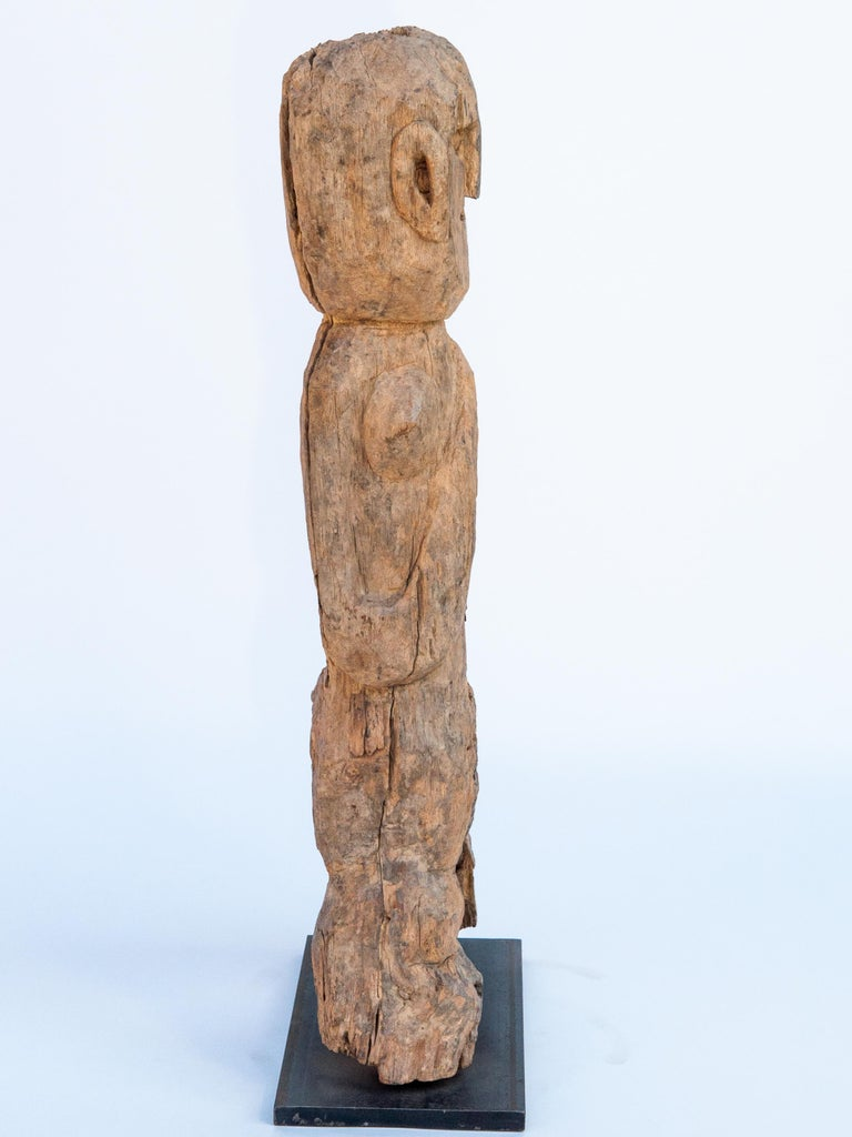 Nepalese Wooden Tribal Female Statue from West Nepal, Early to Mid-20th Century, Mounted For Sale