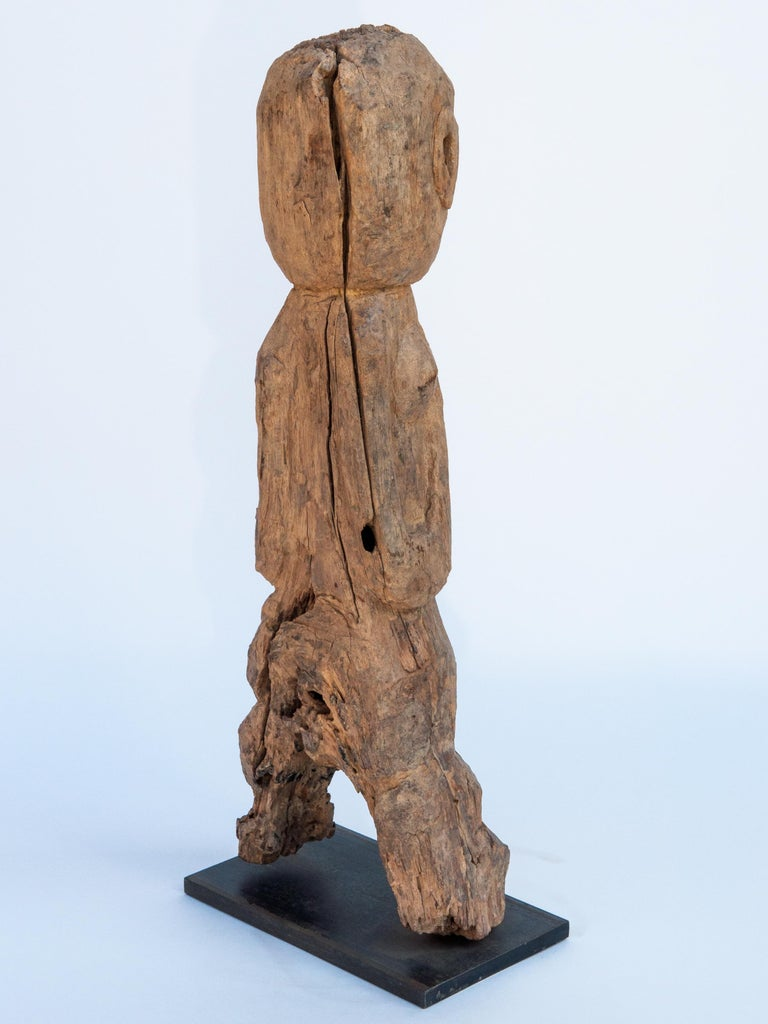Hand-Carved Wooden Tribal Female Statue from West Nepal, Early to Mid-20th Century, Mounted For Sale