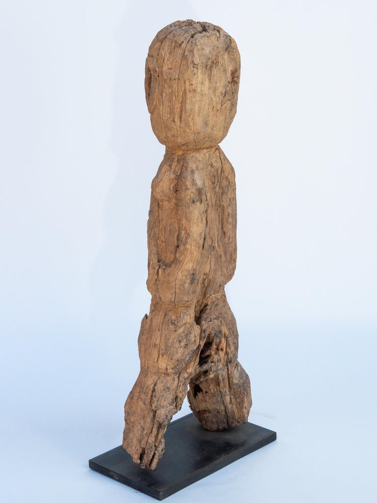 Wooden Tribal Female Statue from West Nepal, Early to Mid-20th Century, Mounted For Sale 1