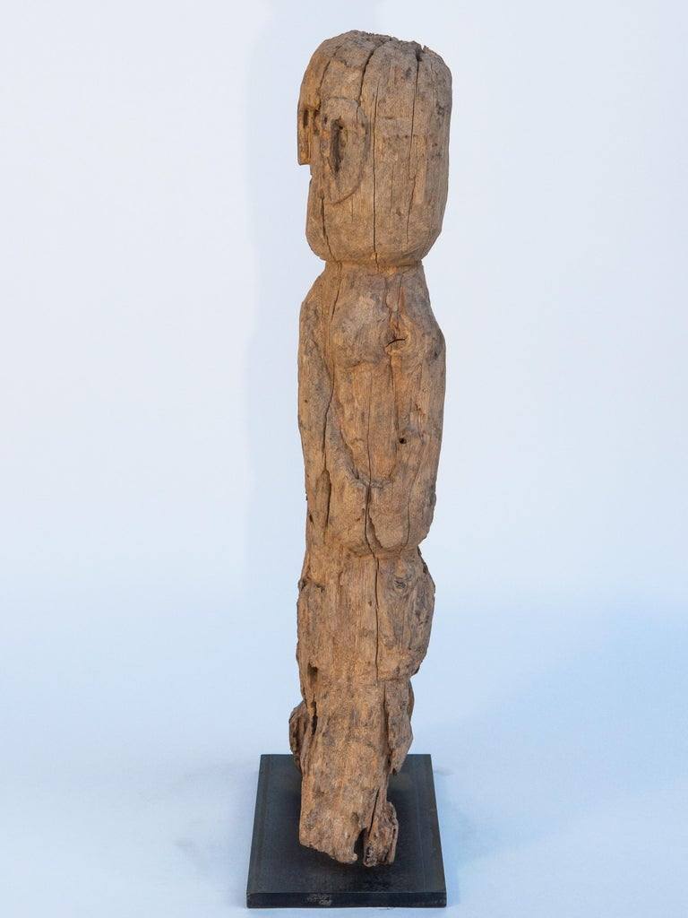 Wooden Tribal Female Statue from West Nepal, Early to Mid-20th Century, Mounted For Sale 2