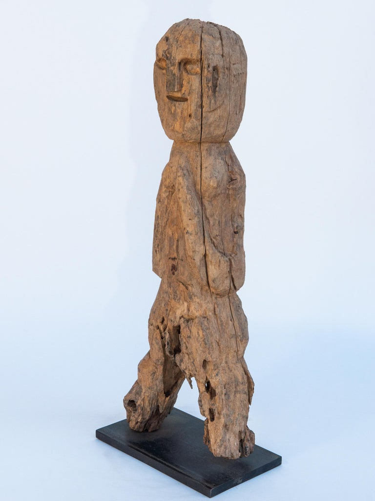 Wooden Tribal Female Statue from West Nepal, Early to Mid-20th Century, Mounted For Sale 3