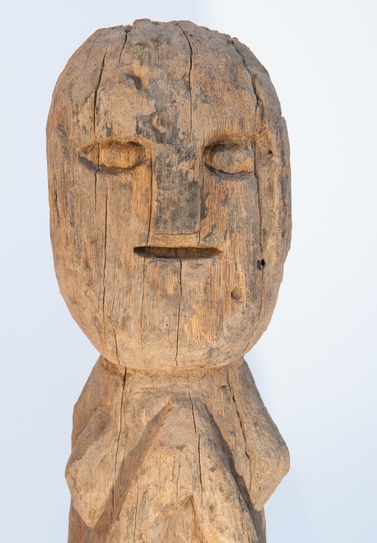 Wooden Tribal Female Statue from West Nepal, Early to Mid-20th Century, Mounted For Sale 4