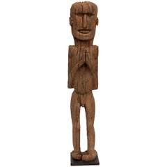 Wooden Tribal Male Statue from West Nepal, Early to Mid-20th Century, Mounted