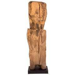 Wooden Tribal Statue or Bridge Figure from West Nepal, Early to Mid-20th Century
