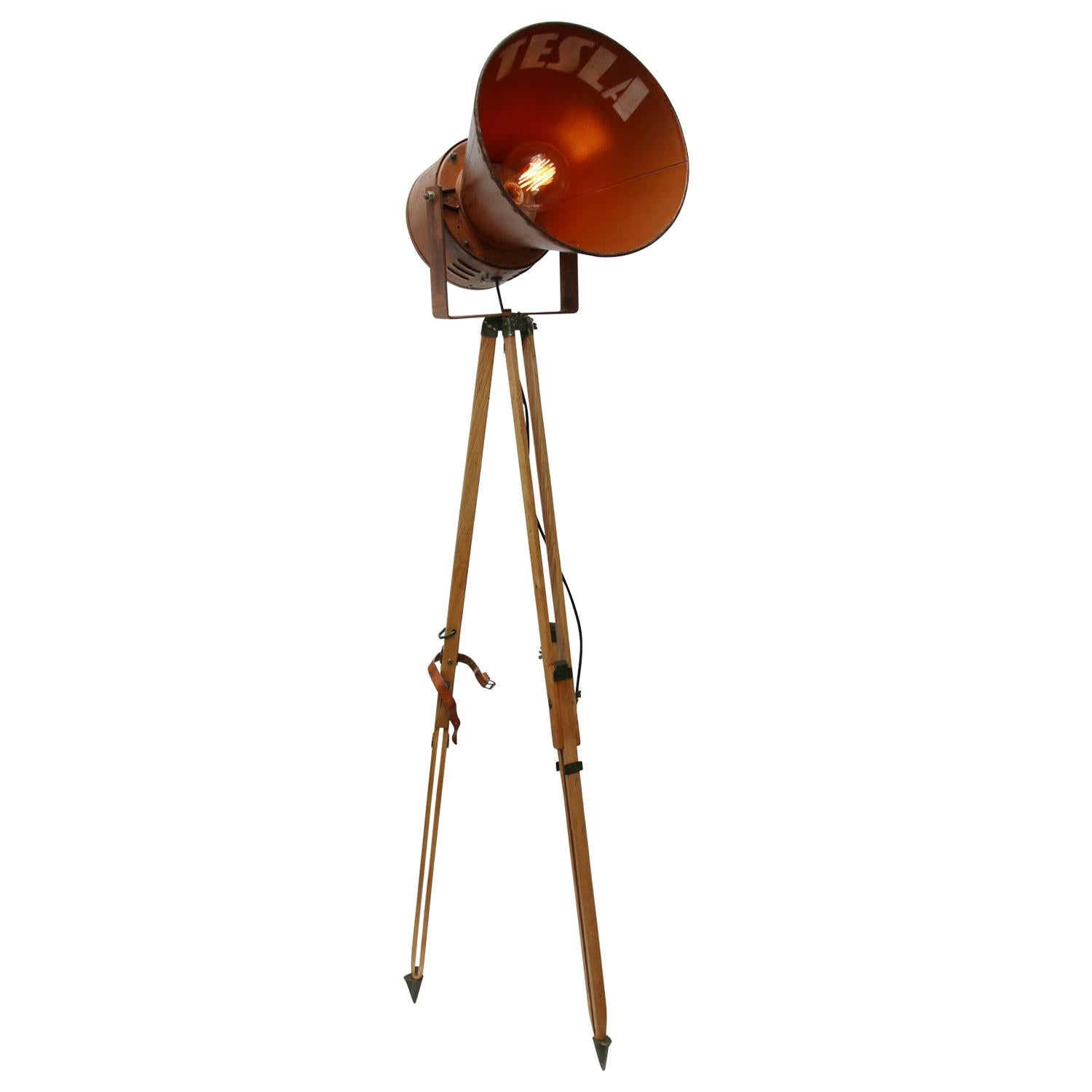 Wooden Tripod Brown Metal Vintage Industrial Spot Light Floor Lamp