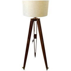 Wooden Tripod Floor Lamp by H. Morin, Paris