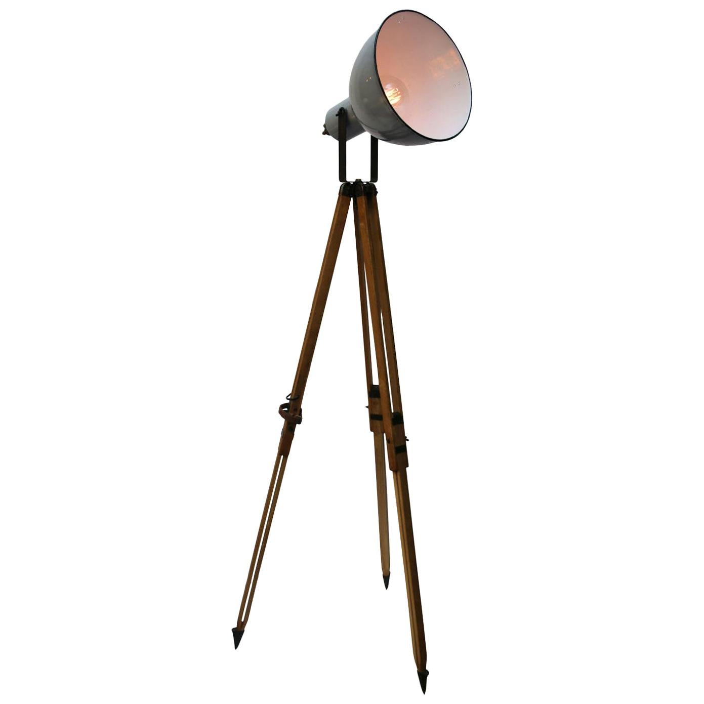Wooden Tripod Gray Enamel Vintage Industrial Spot Light Floor Lamps