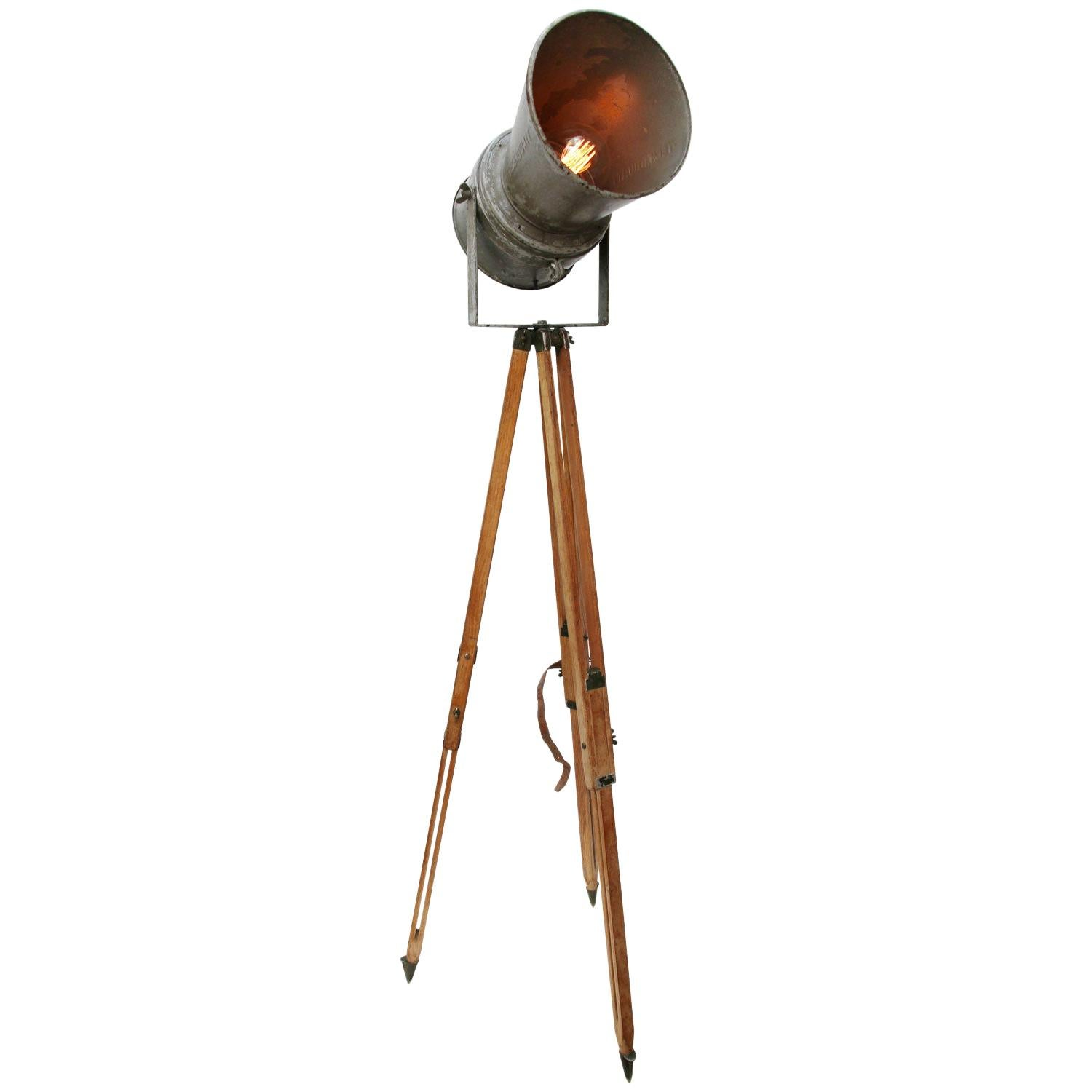 Wooden Tripod Gray Vintage Industrial Spot Light Floor Lamp
