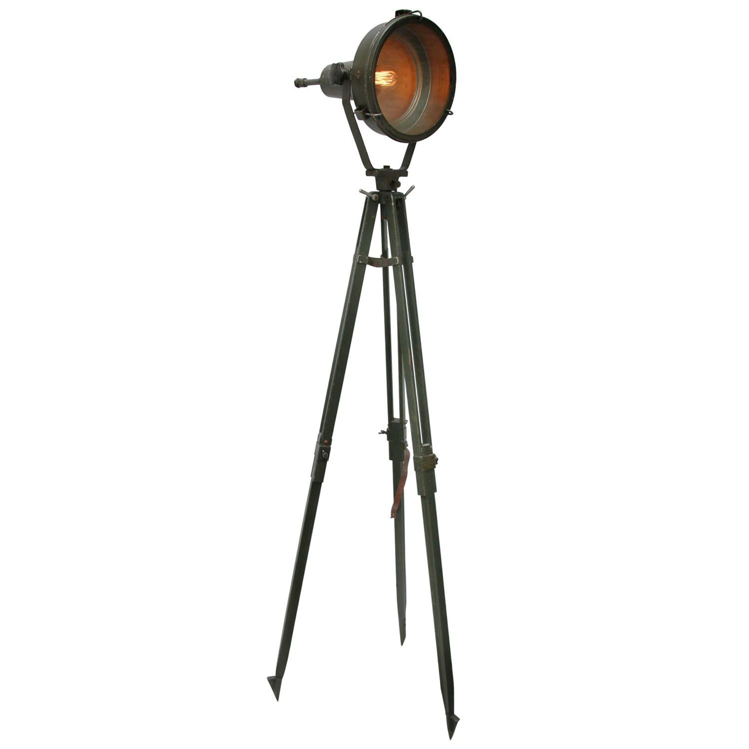 Wooden Tripod Green Metal Vintage Industrial Glass Spot Light Floor Lamp