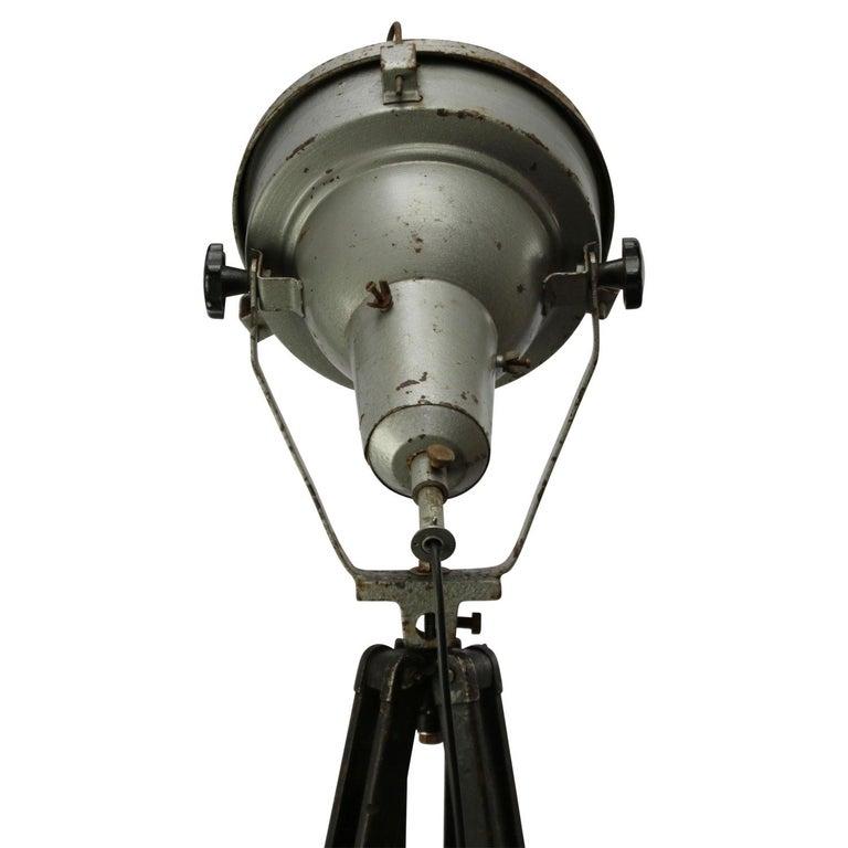 Grey Mingle Metal Tripod Floor Lamp: Wooden Tripod Grey Aluminum Vintage Industrial Clear Glass