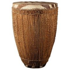 Wooden Tutsi Drum Decorated with Cord and Membrane in Animal Skin