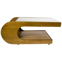 Wooden U-Shaped Table with Glass Top, 1970s