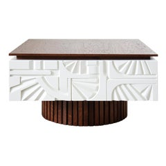 Wooden Varnished and Carved Coffee Table