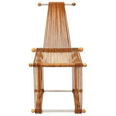 Wooden Vintage Slatted Popstical Stick Chair, Prototype, 1980s
