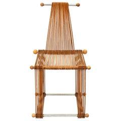 Wooden Vintage Slatted Popstical Stick Design Chair, Prototype, 1980s