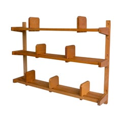 Wooden Wall Bookcase in Style of Charlotte Perriand, France, 1950s