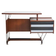 Wooden Writing Desk with Metal Structure, Italy, 1960s