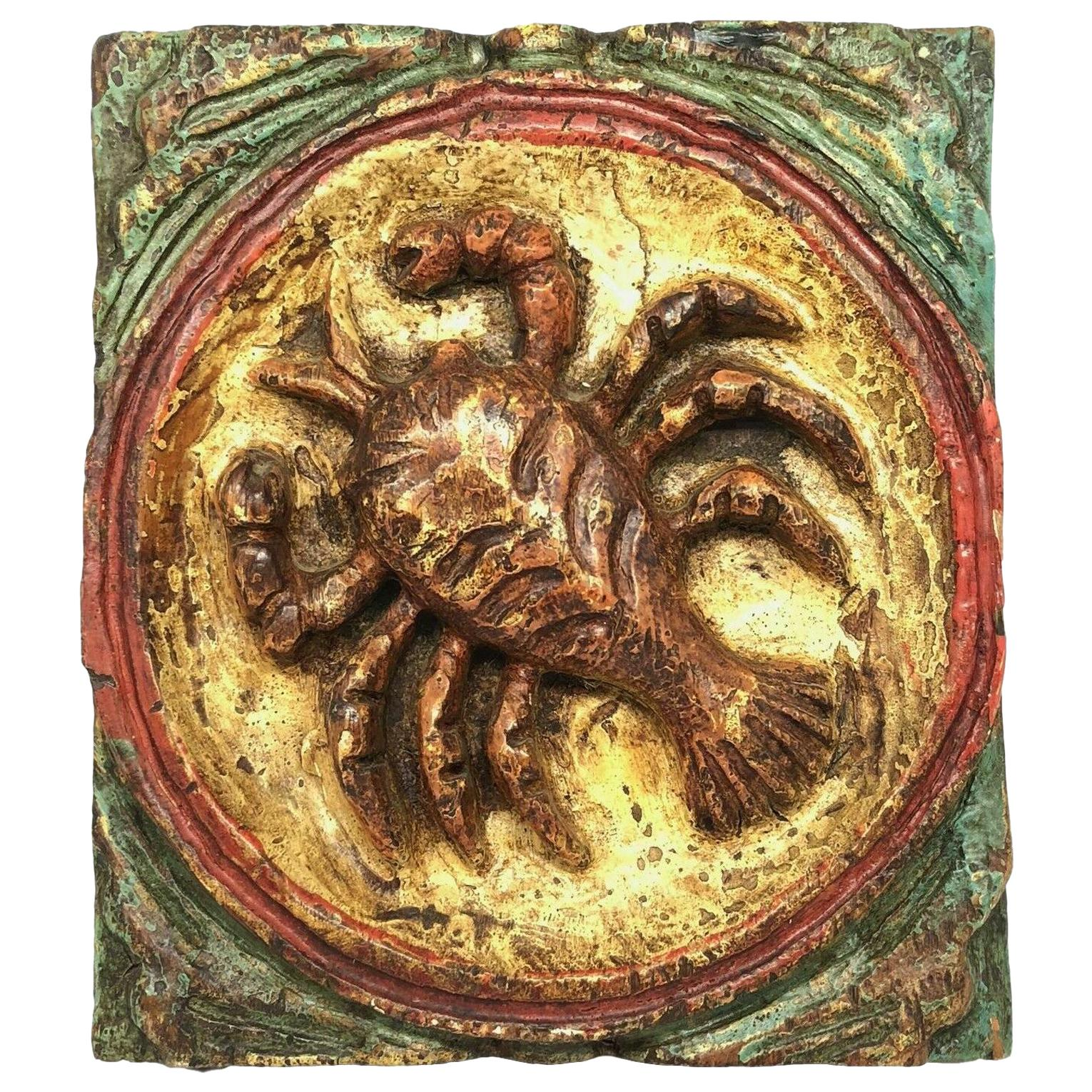 Wooden Zodiac Crab Cancer Wall Plaque Relief Brutalist Midcentury, German, 1970s